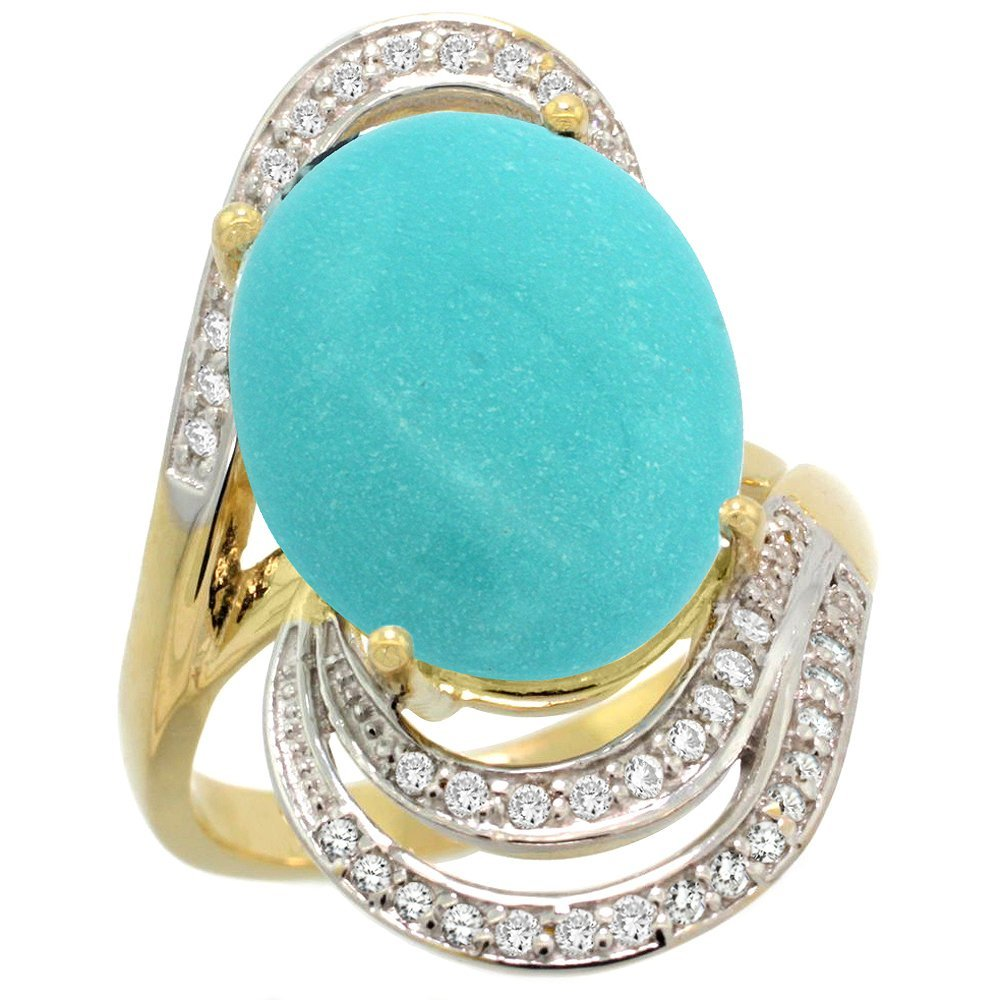 Natural 11.2 ctw turquoise & Diamond Engagement Ring