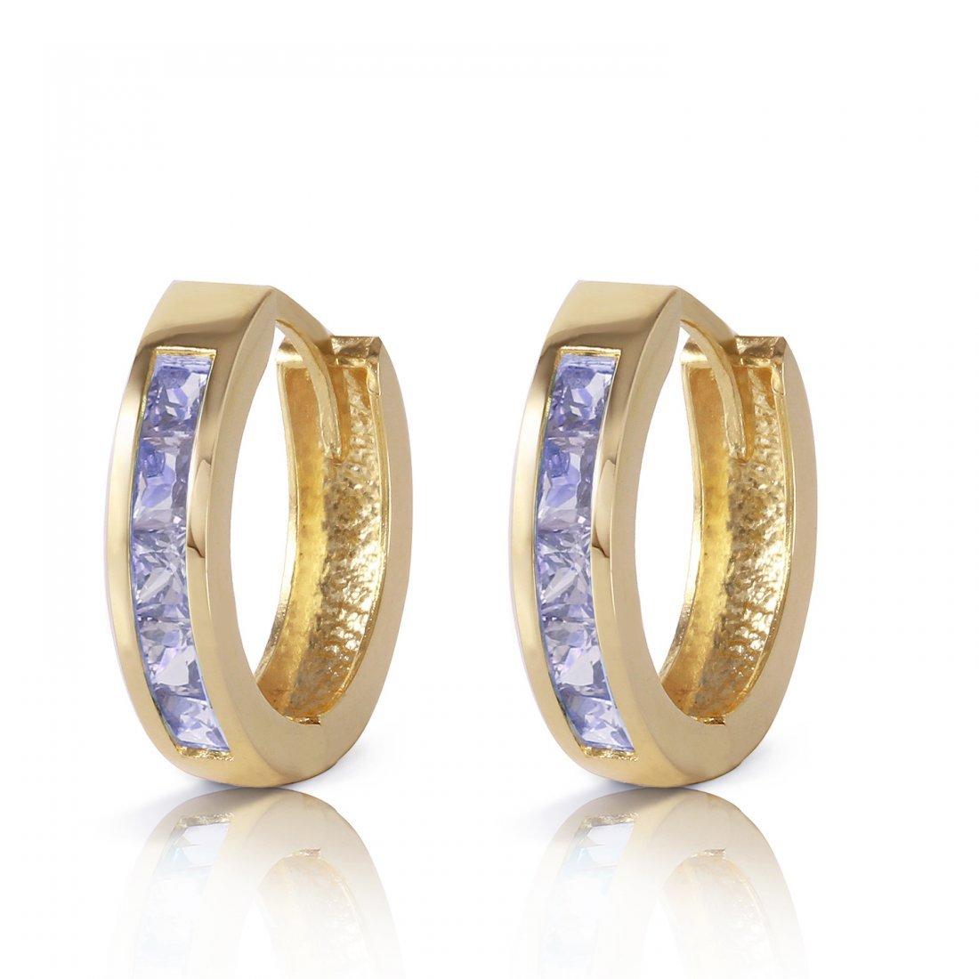 Genuine 0.95 ctw Tanzanite Earrings Jewelry 14KT Yellow