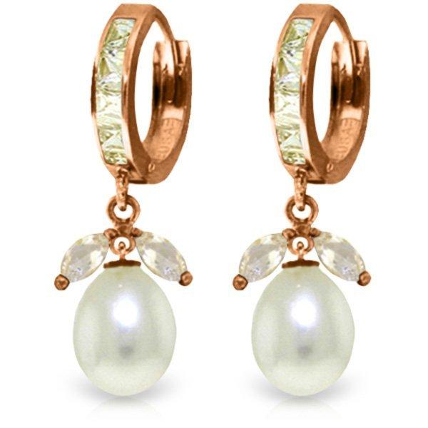Genuine 10.30 ctw White Topaz & Pearl Earrings Jewelry