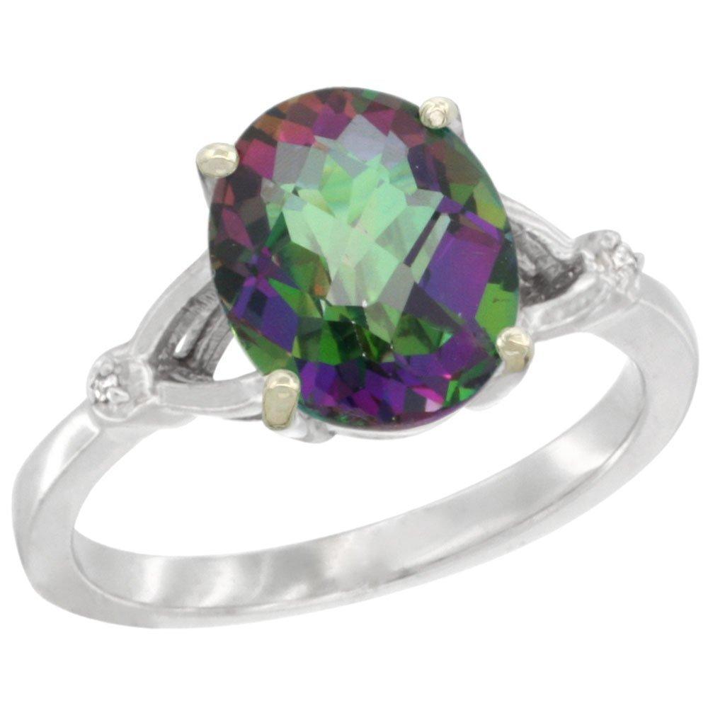 Natural 2.41 ctw Mystic-topaz & Diamond Engagement Ring