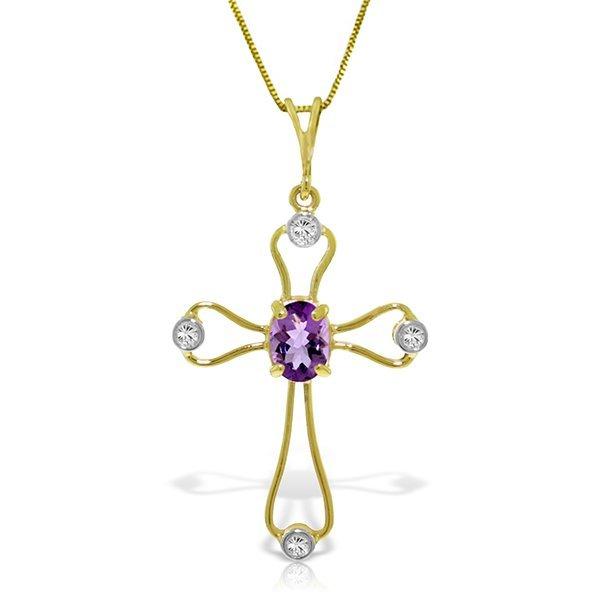 Genuine 0.57 ctw Amethyst & Diamond Necklace Jewelry