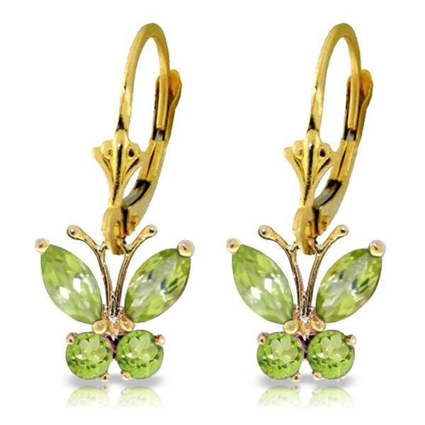 Genuine 1.24 ctw Peridot Earrings Jewelry 14KT Yellow
