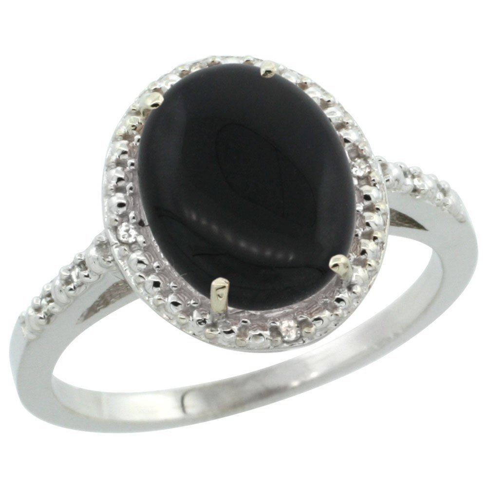 Natural 1.57 ctw Onyx & Diamond Engagement Ring 10K