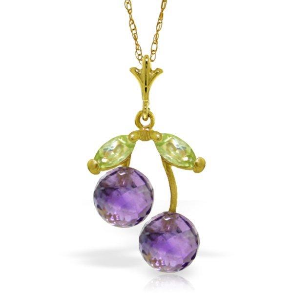 Genuine 1.45 ctw Amethyst & Peridot Necklace Jewelry