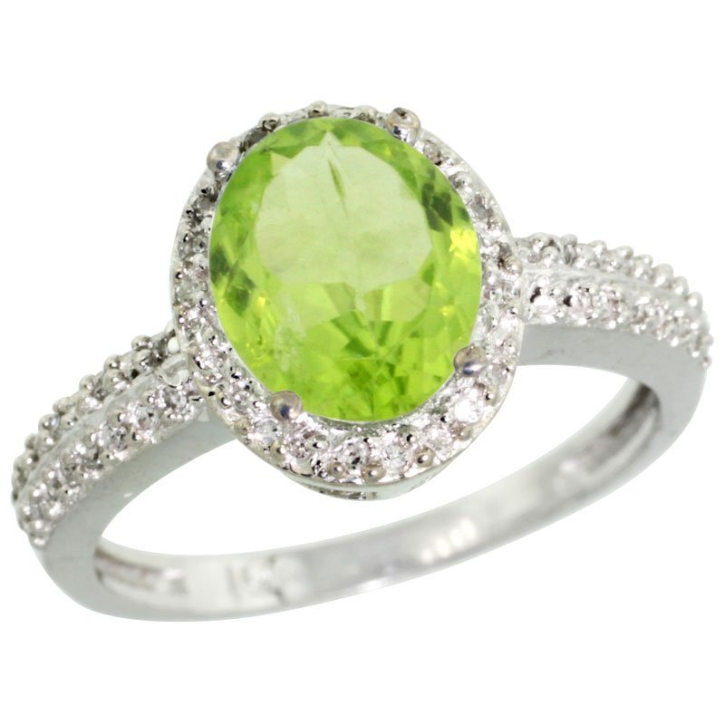 Natural 2.3 ctw Peridot & Diamond Engagement Ring 10K