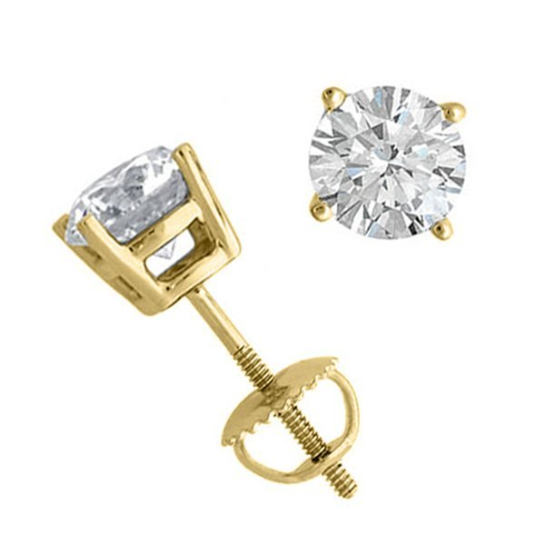 14K Yellow Gold Jewelry 1.50 ctw Natural Diamond Stud