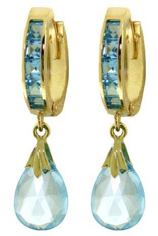Genuine 6.85 ctw Blue Topaz Earrings Jewelry 14KT