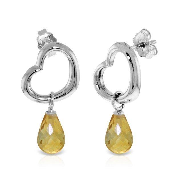 Genuine 4.5 ctw Citrine Earrings Jewelry 14KT White