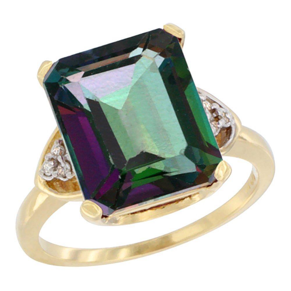 Natural 5.44 ctw mystic-topaz & Diamond Engagement Ring