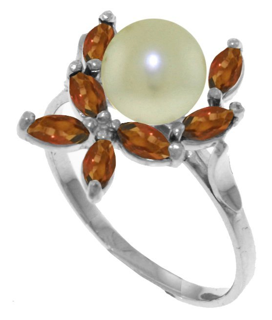 Genuine 2.65 ctw Pearl & Garnet Ring Jewelry 14KT White