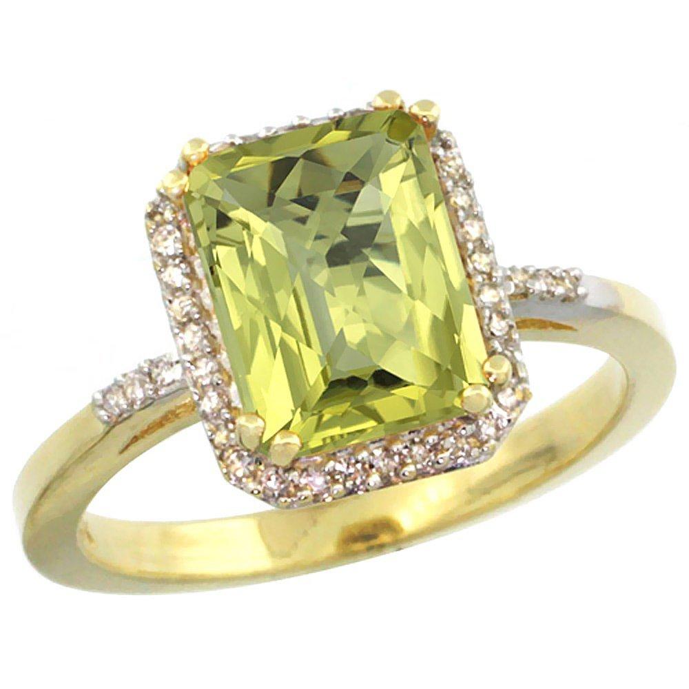 Natural 2.63 ctw Lemon-quartz & Diamond Engagement Ring