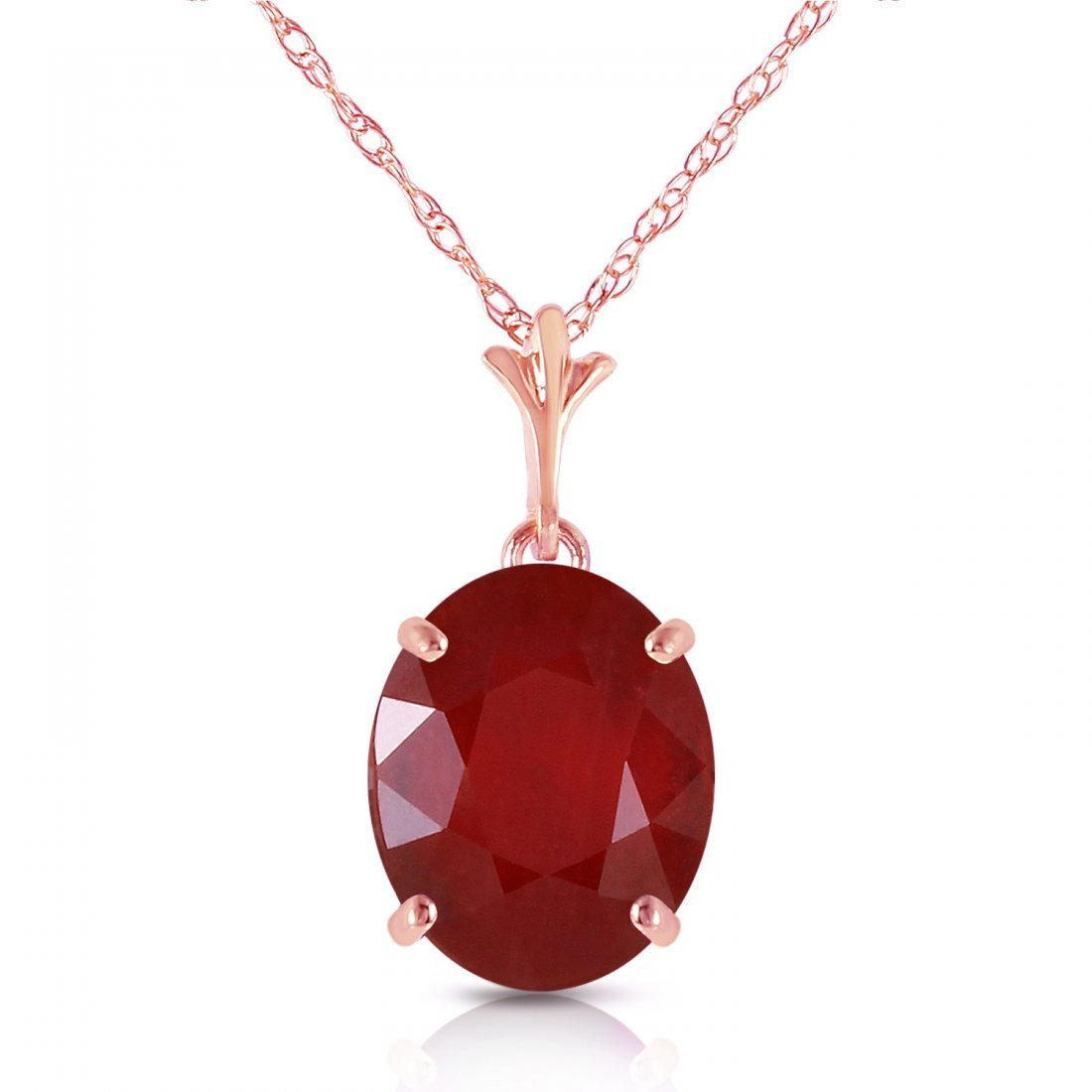 Genuine 3.5 ctw Ruby Necklace Jewelry 14KT Rose Gold -