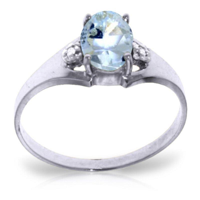 Genuine 0.76 ctw Aquamarine & Diamond Ring Jewelry 14KT