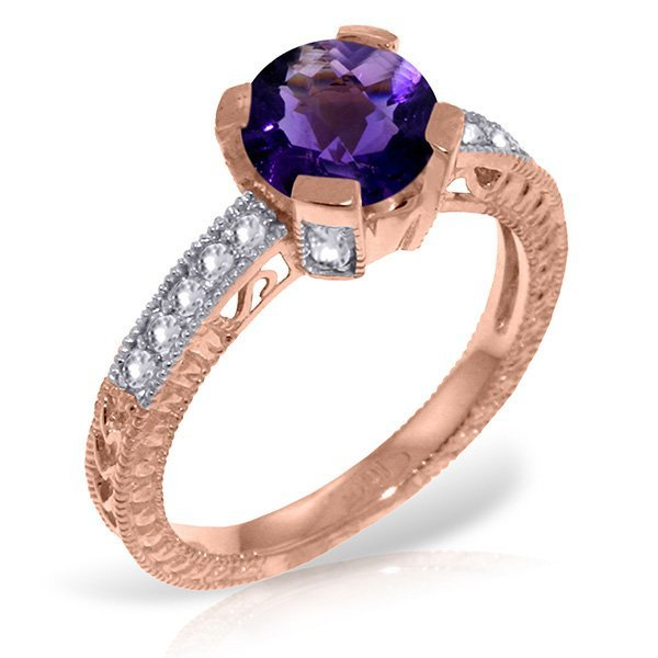 Genuine 1.80 ctw Amethyst & Diamond Ring Jewelry 14KT