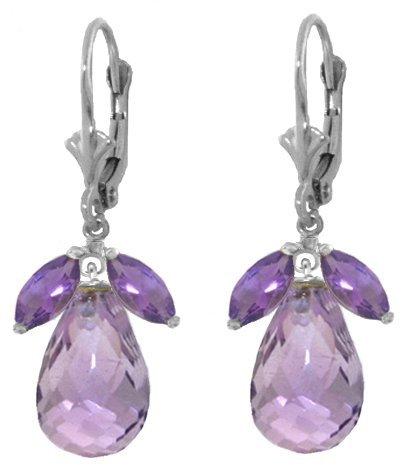 Genuine 14.4 ctw Amethyst Earrings Jewelry 14KT White