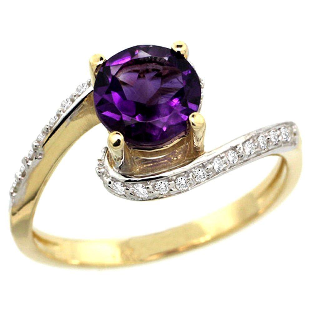 Natural 0.99 ctw amethyst & Diamond Engagement Ring 14K