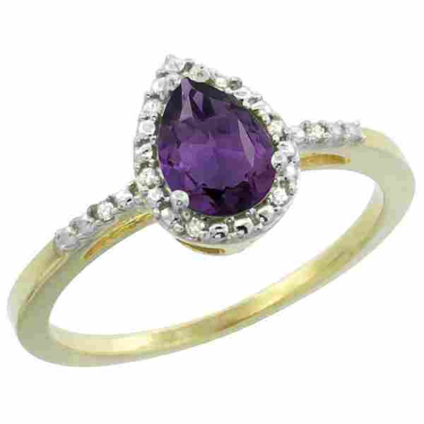 Natural 1.53 ctw amethyst & Diamond Engagement Ring 14K