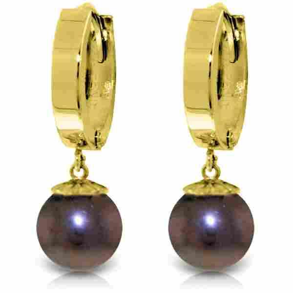 Genuine 4 ctw Black Pearl Earrings Jewelry 14KT Yellow