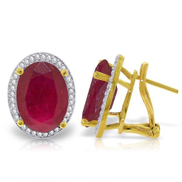 Genuine 15.86 ctw Ruby & Diamond Earrings Jewelry 14KT