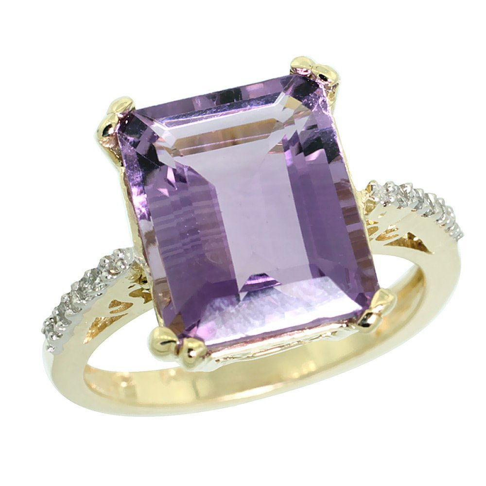Natural 5.48 ctw amethyst & Diamond Engagement Ring 14K
