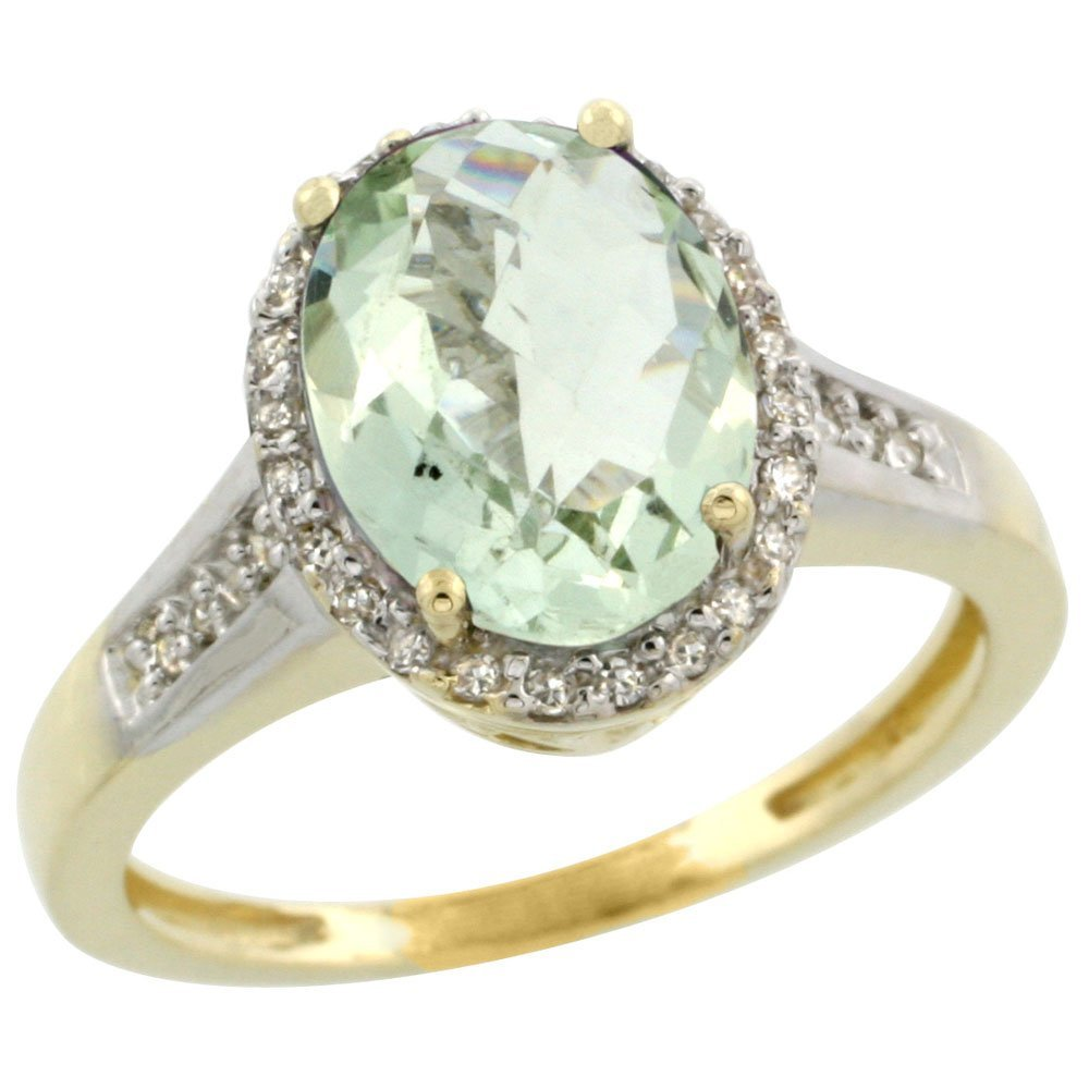 Natural 2.49 ctw Green-amethyst & Diamond Engagement