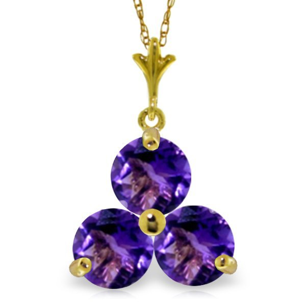 Genuine 0.75 ctw Amethyst Necklace Jewelry 14KT Yellow