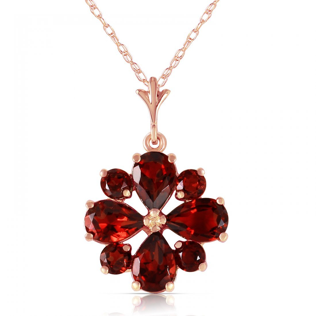 Genuine 2.43 ctw Garnet Necklace Jewelry 14KT Rose Gold