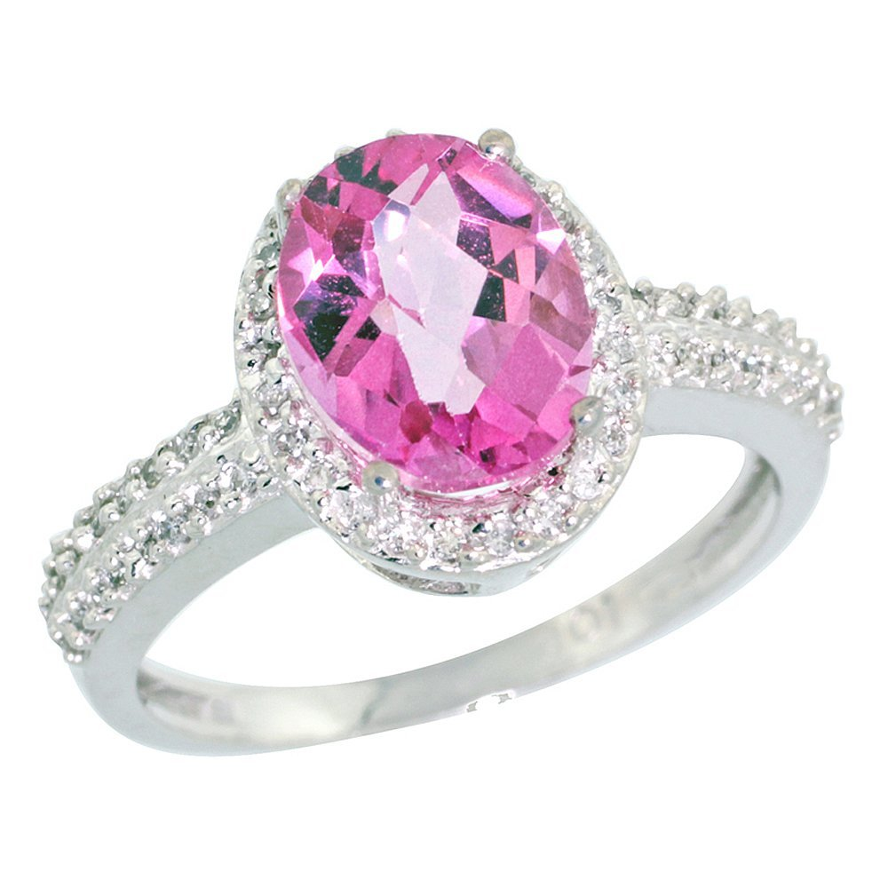 Natural 1.91 ctw Pink-topaz & Diamond Engagement Ring