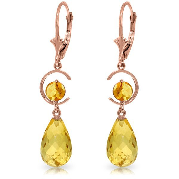 Genuine 11 ctw Citrine Earrings Jewelry 14KT Rose Gold