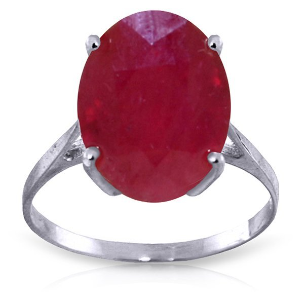 Genuine 7.5 ctw Ruby Ring Jewelry 14KT White Gold -