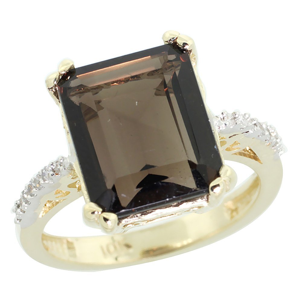 Natural 5.48 ctw Smoky-topaz & Diamond Engagement Ring