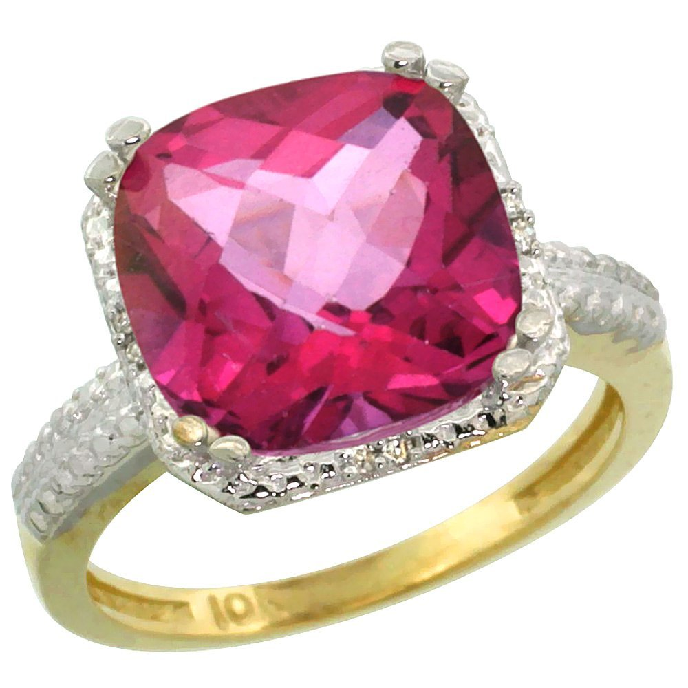 Natural 5.96 ctw Pink-topaz & Diamond Engagement Ring