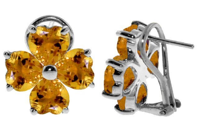 Genuine 6.5 ctw Citrine Earrings Jewelry 14KT White