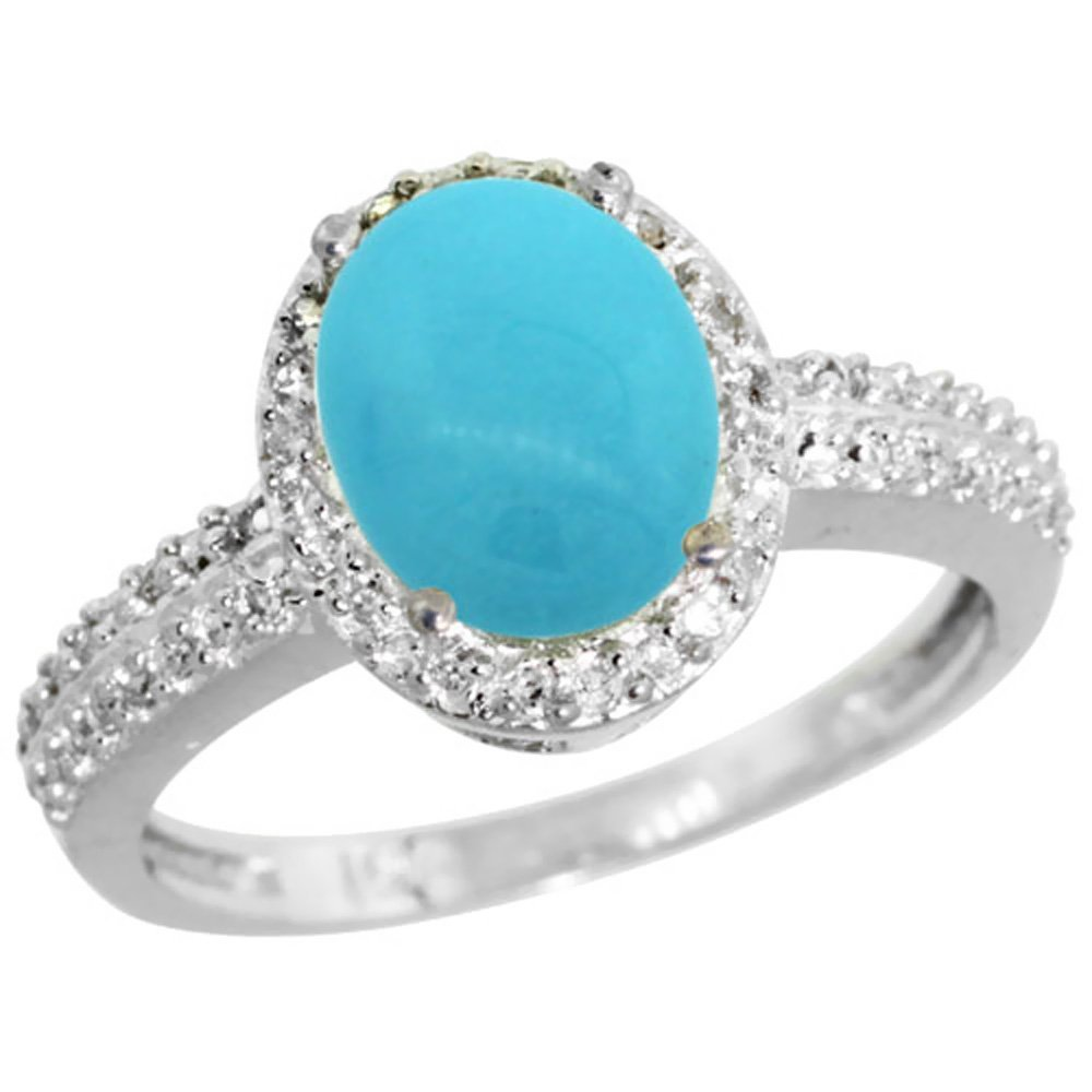 Natural 1.91 ctw Turquoise & Diamond Engagement Ring