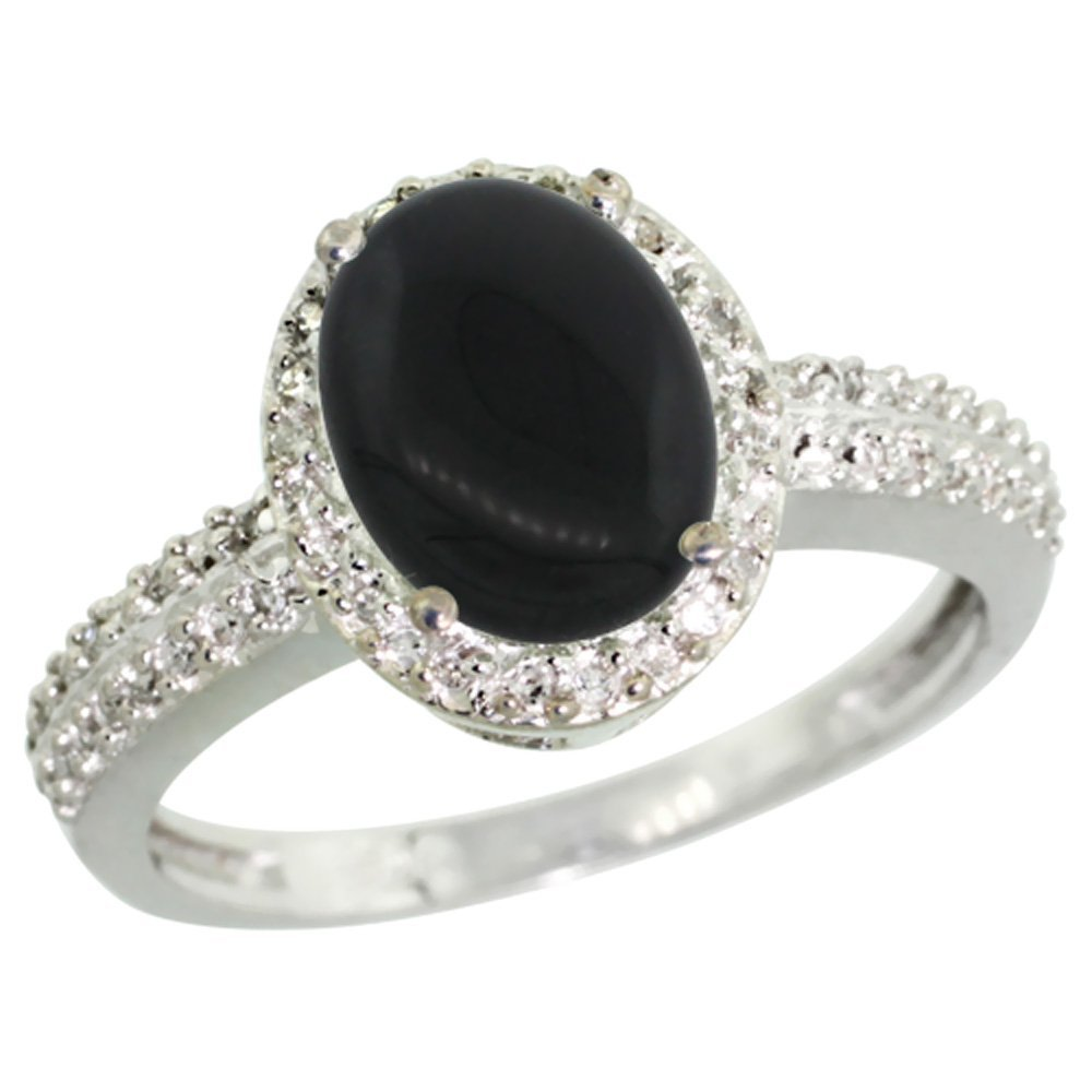 Natural 1.95 ctw Onyx & Diamond Engagement Ring 14K
