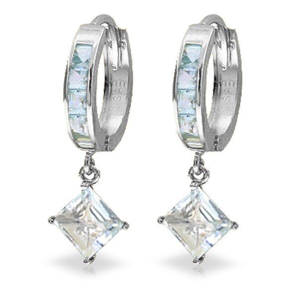 Genuine 4 ctw Aquamarine Earrings Jewelry 14KT White