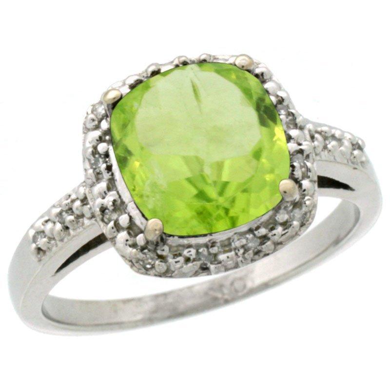 Natural 2.4 ctw Peridot & Diamond Engagement Ring 14K