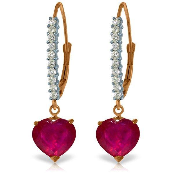 Genuine 3.2 ctw Ruby & Diamond Earrings Jewelry 14KT