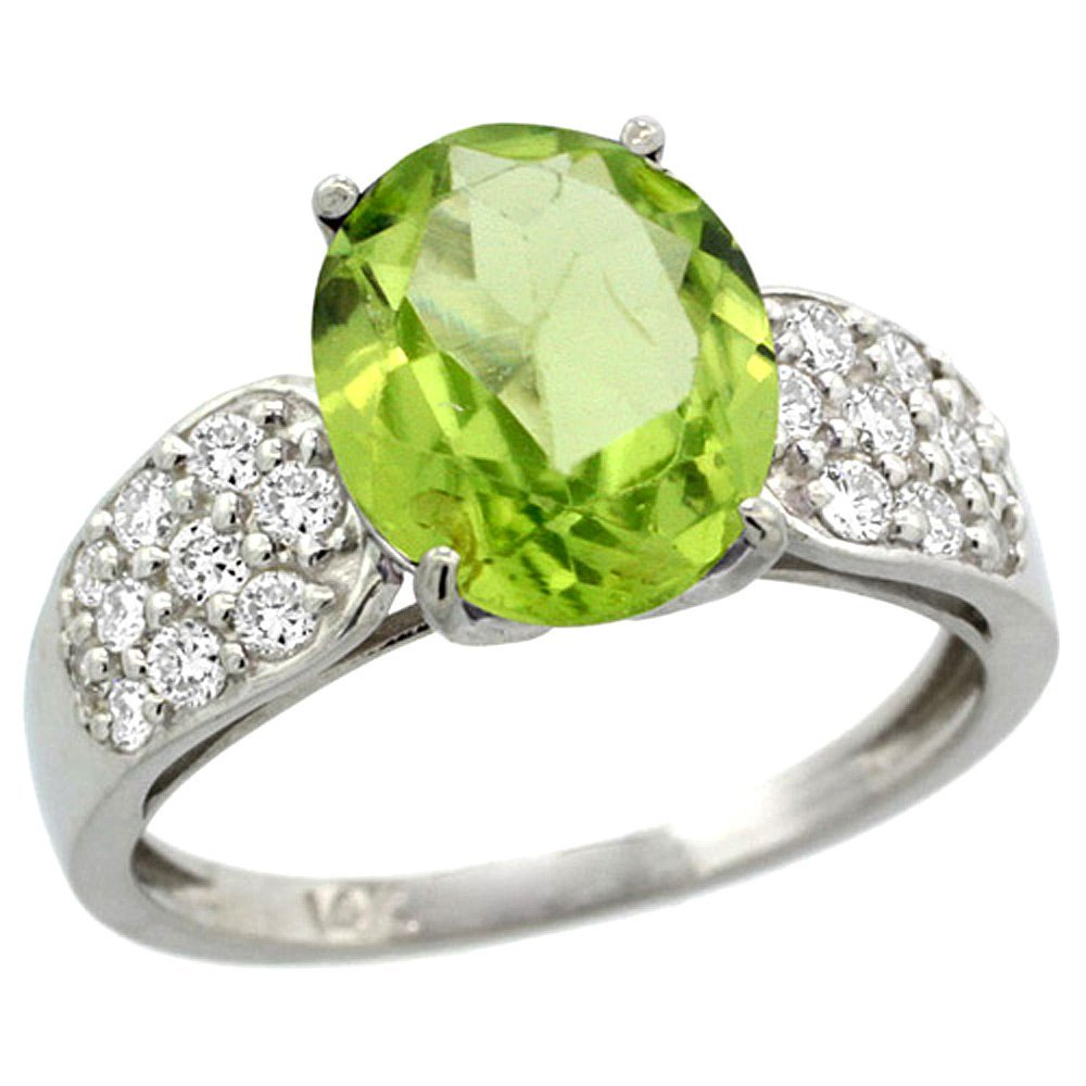 Natural 3.13 ctw peridot & Diamond Engagement Ring 14K