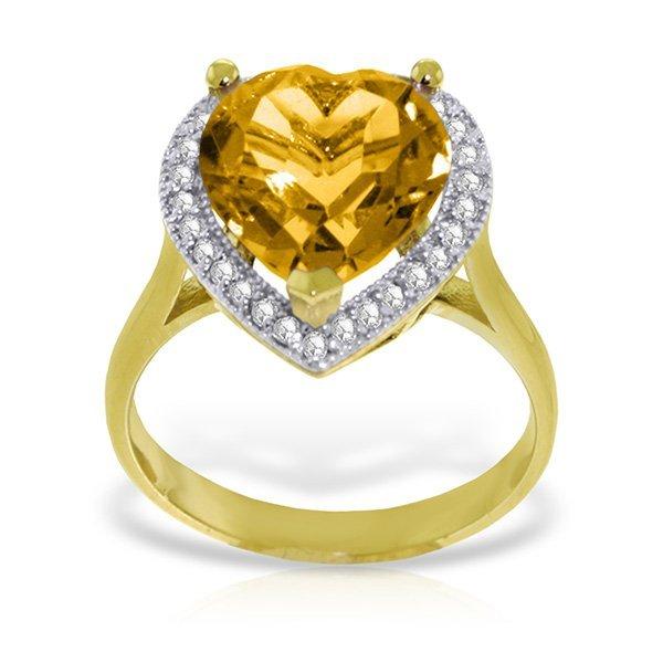 Genuine 3.24 ctw Citrine & Diamond Ring Jewelry 14KT