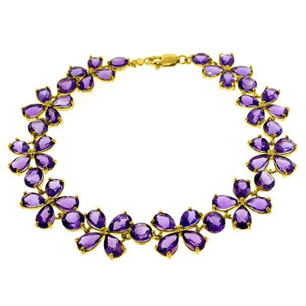 Genuine 20.7 ctw Amethyst Bracelet Jewelry 14KT White