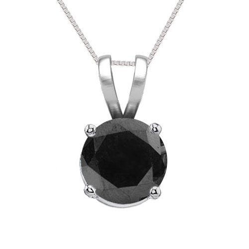 14K White Gold Jewelry 0.75 ct Black Diamond Solitaire