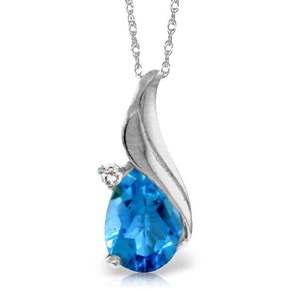 Genuine 2.53 ctw Blue Topaz & Diamond Necklace Jewelry