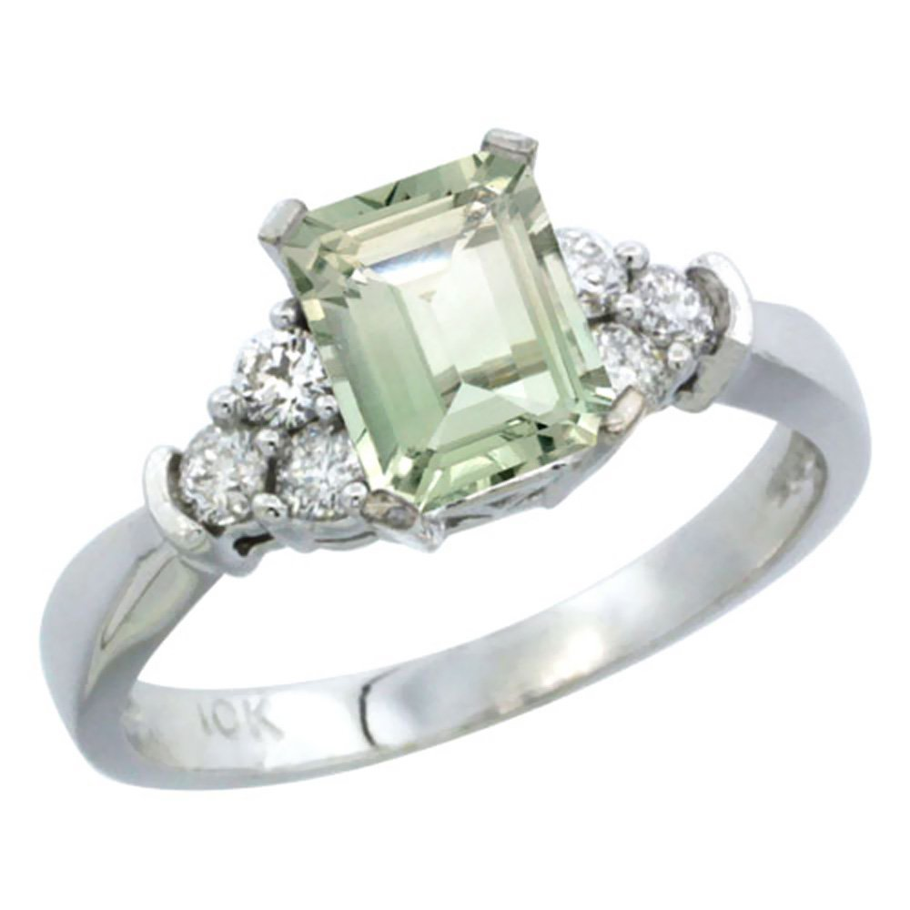Natural 1.48 ctw green-amethyst & Diamond Engagement