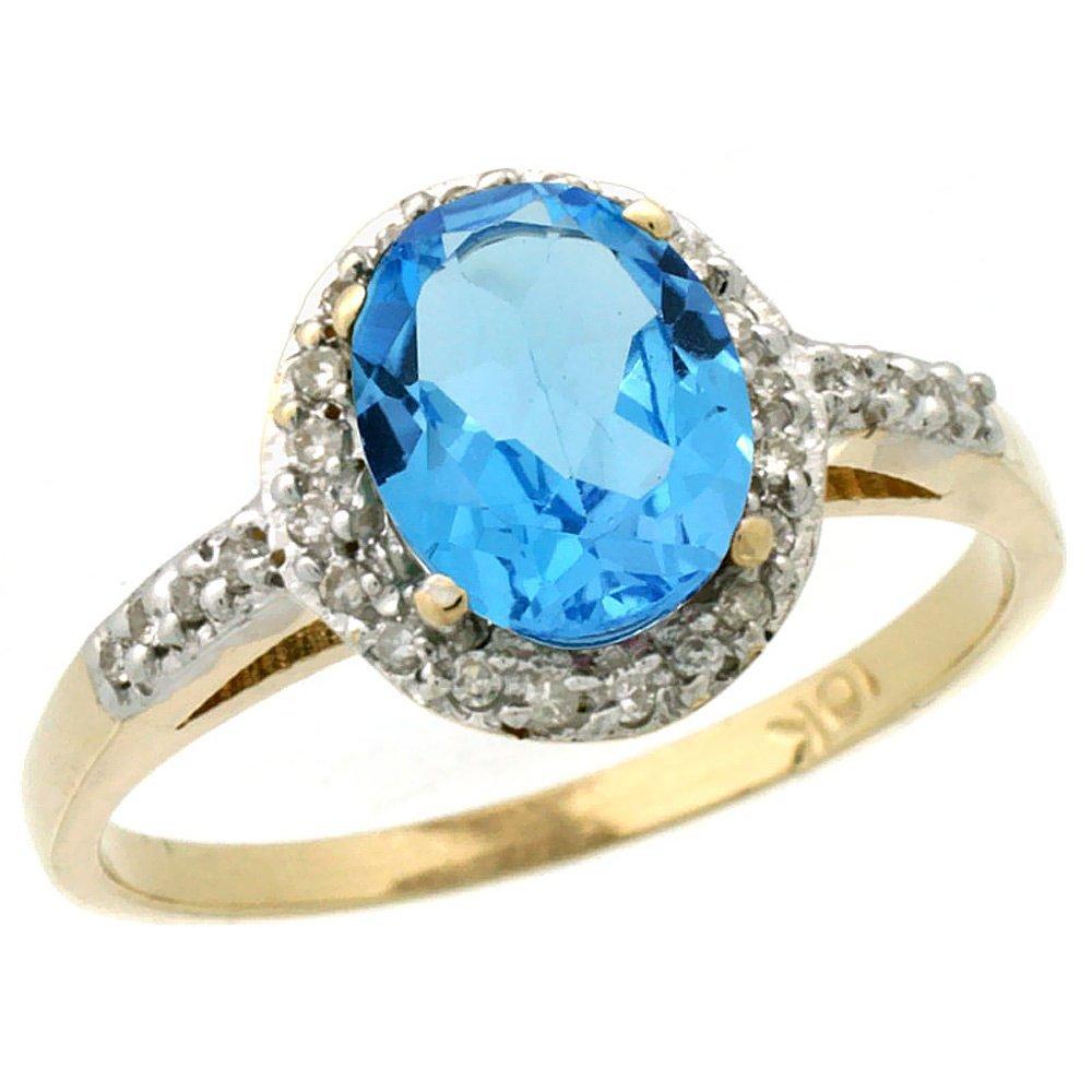 Natural 1.3 ctw Swiss-blue-topaz & Diamond Engagement