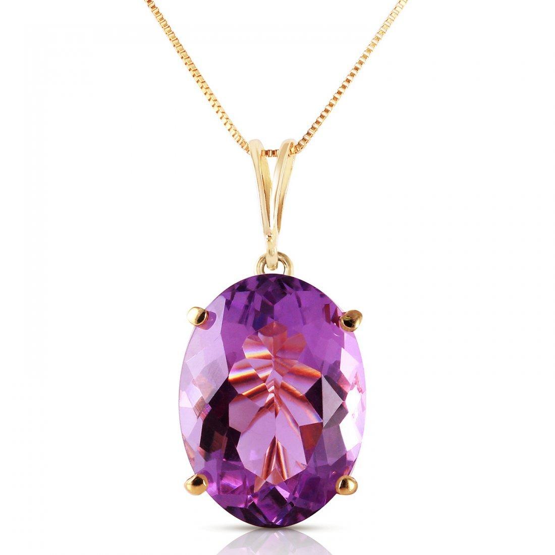 Genuine 7.55 ctw Amethyst Necklace Jewelry 14KT Yellow