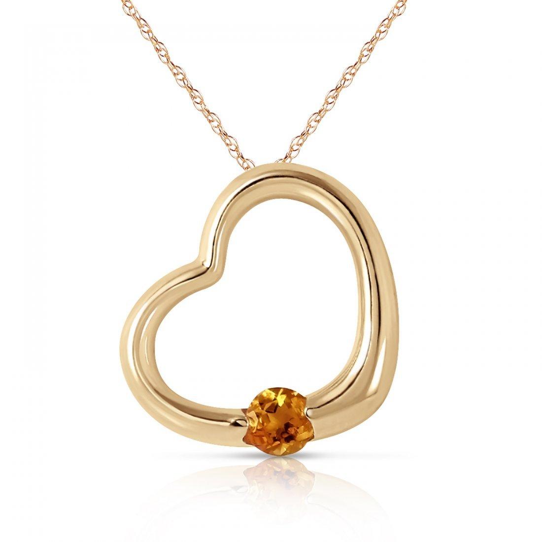 Genuine 0.25 ctw Citrine Necklace Jewelry 14KT Yellow
