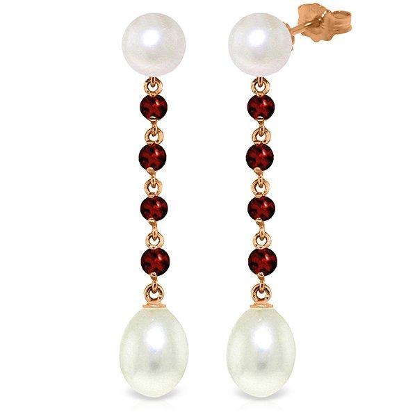 Genuine 11 ctw Pearl & Garnet Earrings Jewelry 14KT