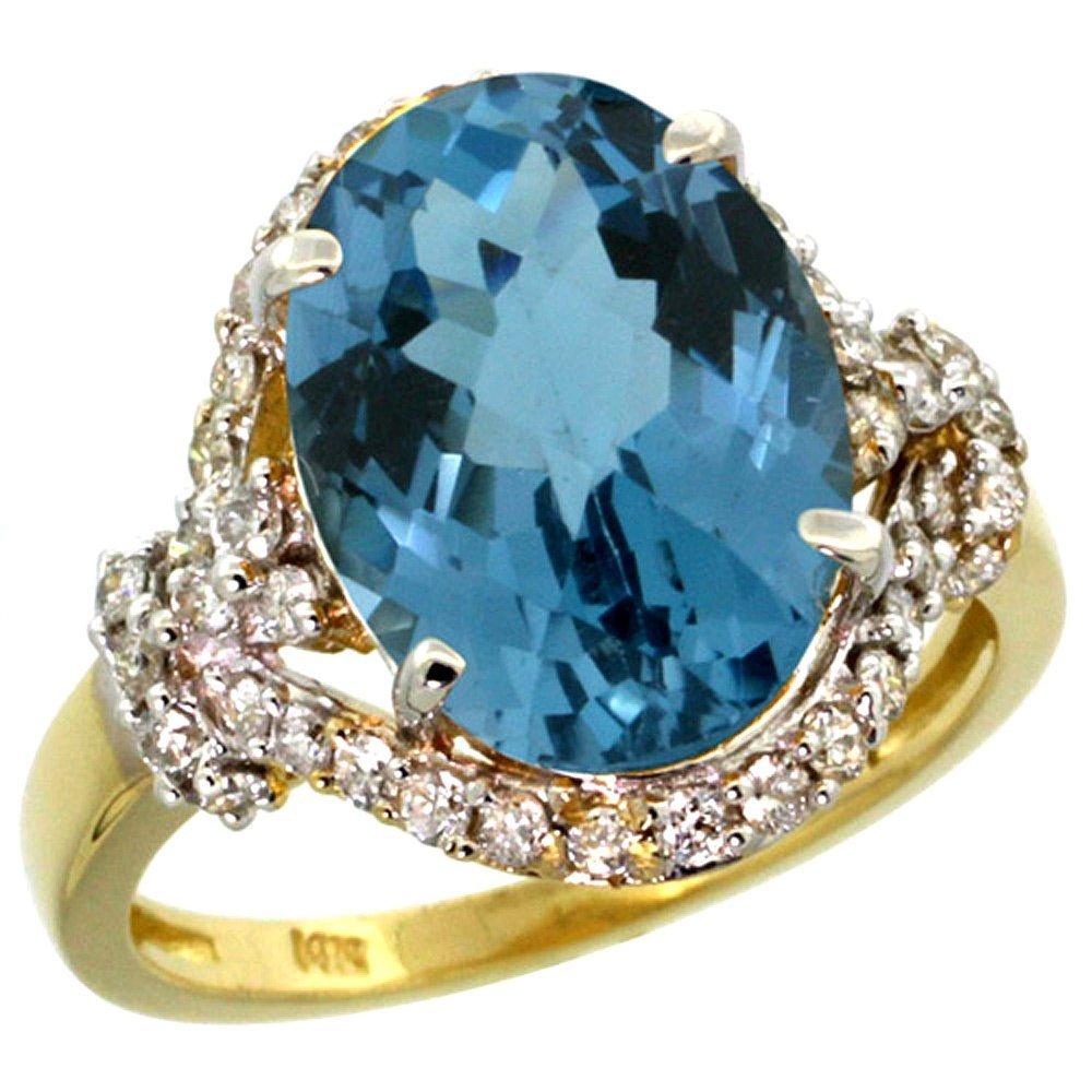 Natural 5.89 ctw london-blue-topaz & Diamond Engagement