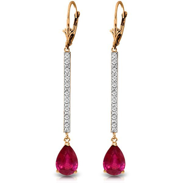 Genuine 3.6 ctw Ruby & Diamond Earrings Jewelry 14KT